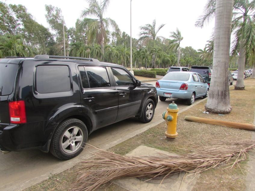 Este auto no debería estar estacionado frente a un hidrante | Foto: Aydana Ruiz
