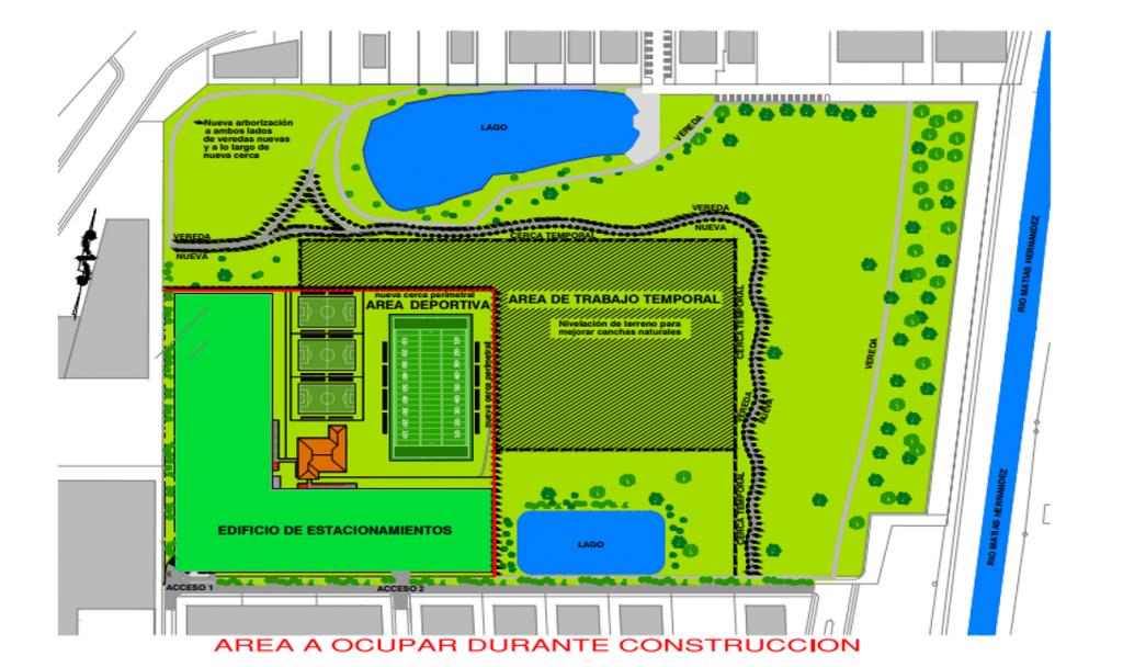 El proyecto será construido en el área delimitada con la línea roja. El resto del parque quedará igual.
