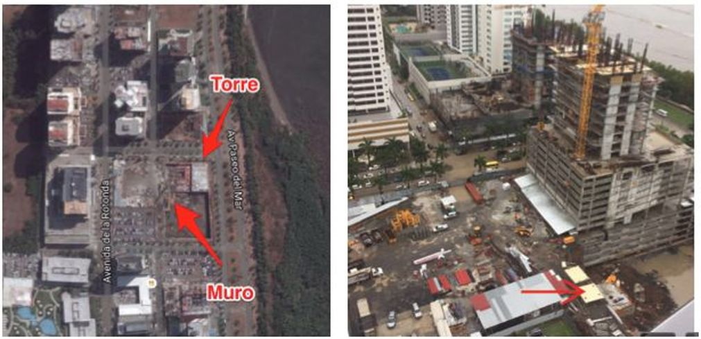 La empresa constructora mostró a través de una imagen satelital la ubicación del muro, con respecto a las obras ya adelantadas.