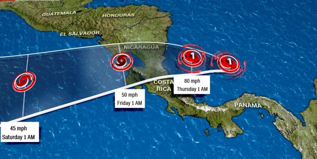 Huracán Otto se aleja de Panamá e ingresa a Costa Rica y Nicaragua, entre este miércoles y jueves | Foto: CNN