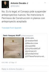 Respuesta de Antonio Docabo, Director de Obras y Construcciones del Municipio de Panamá