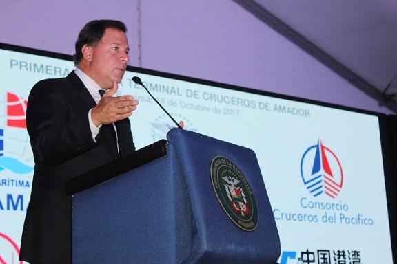 """Juan Carlos Varela, presidente de la República, """"esta obra culminará después del término de mi mandato. Quiero entregar un país muy diferente al que recibí""""."""